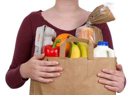 Young female holding brown eco friendly grocery bag with bottle of milk, carton of eggs, bag of bread, bananas, bell pepper and orange, isolated on white. Healthy shopping.