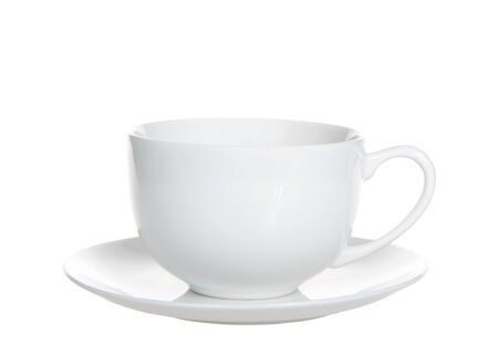 One empty off white porcelain tea coffee cup on a saucer plate isolated on white.