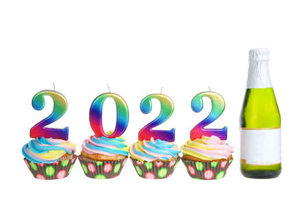 Colorful rainbow frosted vanilla cupcakes sitting in a row with 2022 candles on top next to a small bottle of wine, blank label. Isolated on white. Imagens