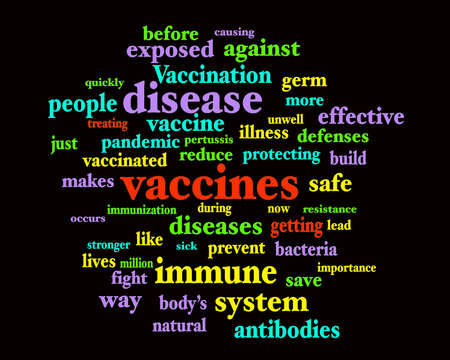 Vaccine immunization themed word cloud on black background