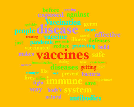 Vaccine immunization themed word cloud on brownish orange background