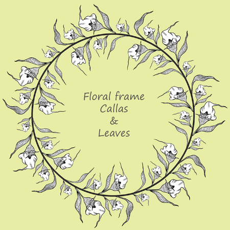 Round floral frame with calla lilies and leaves