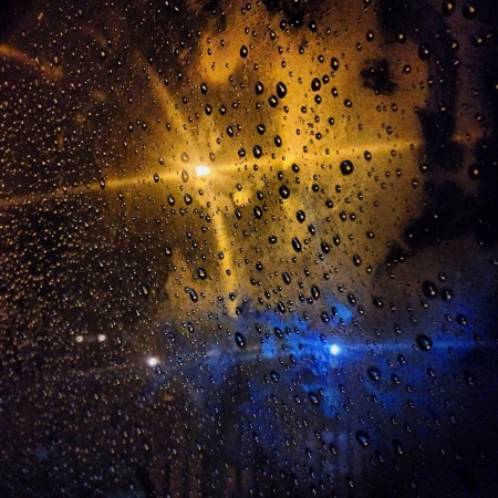 dark: Water drops on window at dark