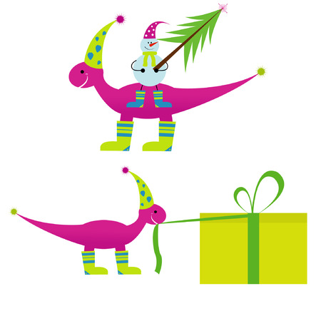 Christmas dinosaur with snowman and gifts for you Vector