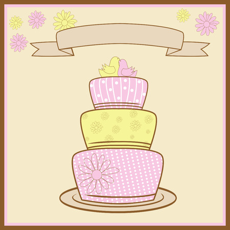 Tiered Wedding Cake With Love. Vector
