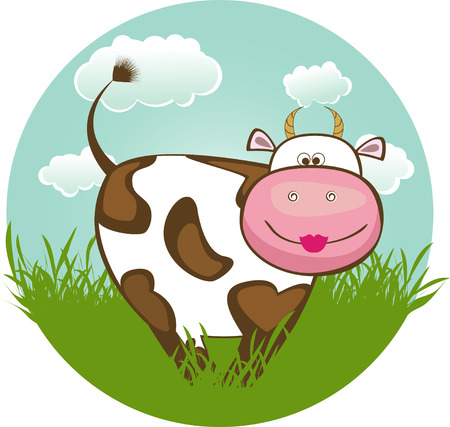 Cow on green grass.  Illustration