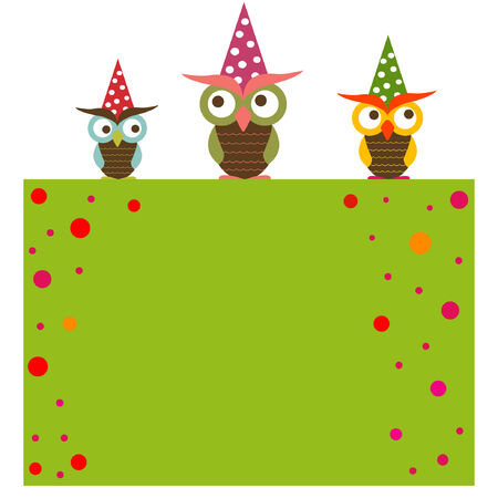 Funny background with three owls Stock Vector - 6730793