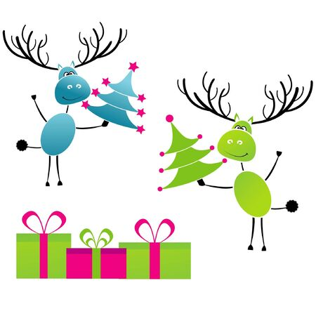 Christmas reindeer with gift for you Vector