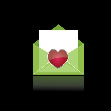 latter: Colorful green mail with heart and white paper for you
