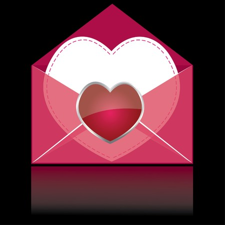 latter: Colorful pink mail with heart and white paper for you