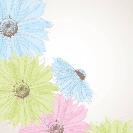 Fondo abstracto con flores.  Ilustración de vector