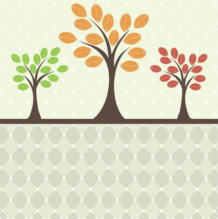 Retro tree .  Illustration
