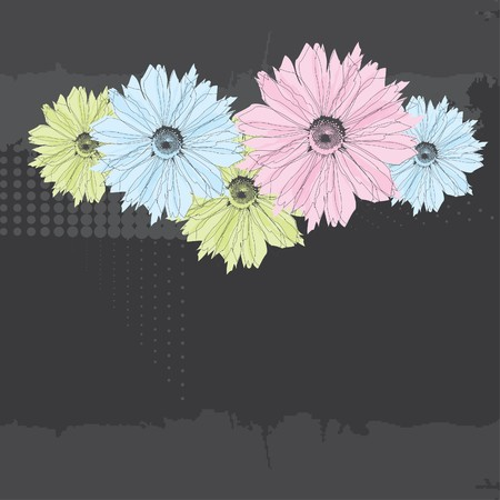 dark pastel green: Abstract background with pastel flowers.