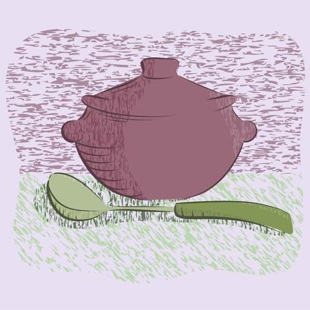 hot silver pan tableware .Vector illustration