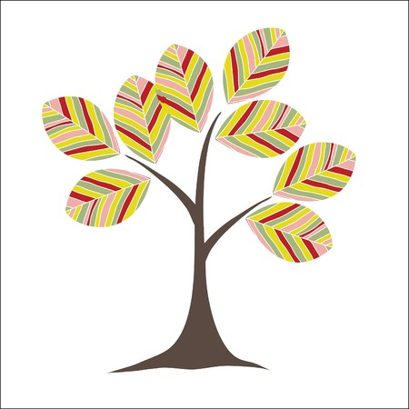 Retro colorful tree Standard-Bild - 7867400