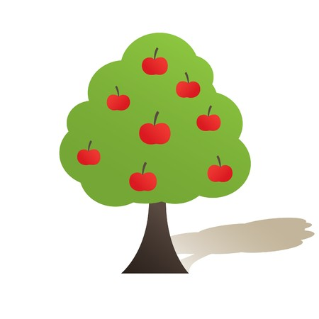 Green tree with apple. Vector illustration Illustration
