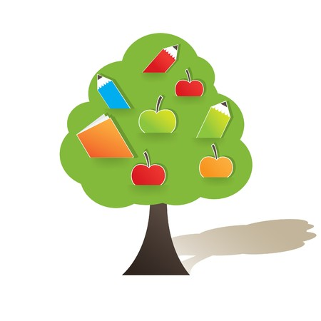 Green tree with apple. Vector illustration Vector