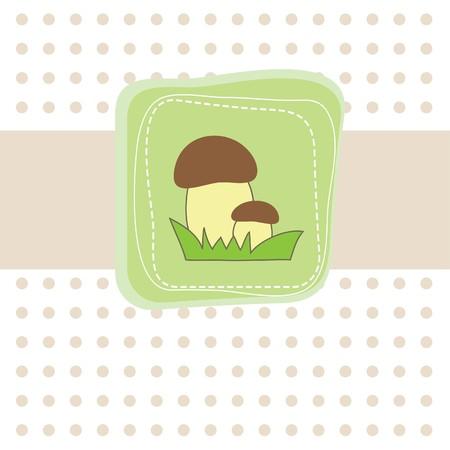 Simple card with mushroom. Vector illustration Vector