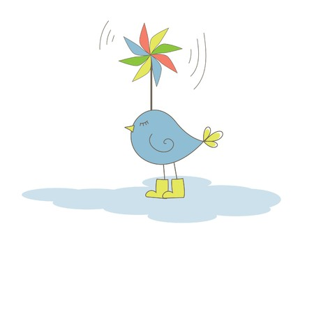 Bird with colorful windmill . Vector illustration Stock Vector - 7867446