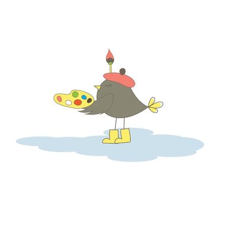 Card with artist bird. Vector illustration Stock Vector - 7867447