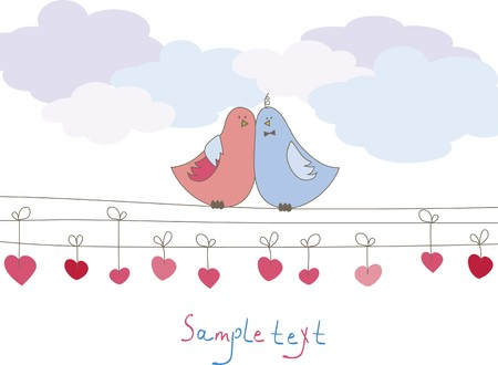 Romantic card with birds. Vector illustration Stock Vector - 7867449