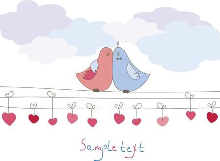 Romantische Karte mit Vögeln. Vektor-illustration Standard-Bild - 7867449