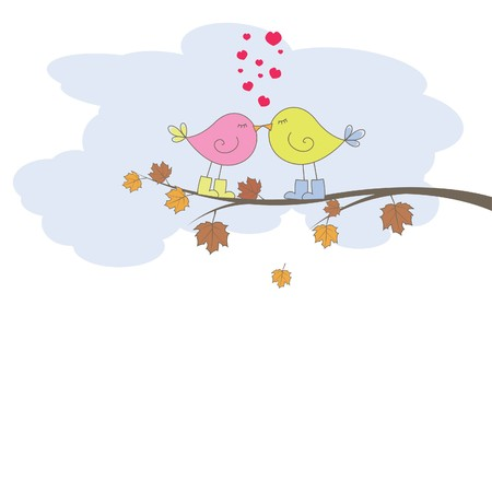stylize: Romantische kaart met vogels. Vector illustratie