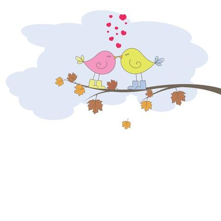 enamorados caricatura: Tarjeta rom�ntica con aves. Ilustraci�n vectorial