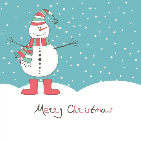 New year's card with angel snow man. Vector illustration