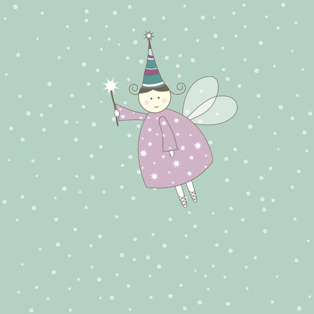 New year's card with angel. Vector illustration