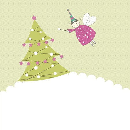 New years card with angel. Vector illustration Vector
