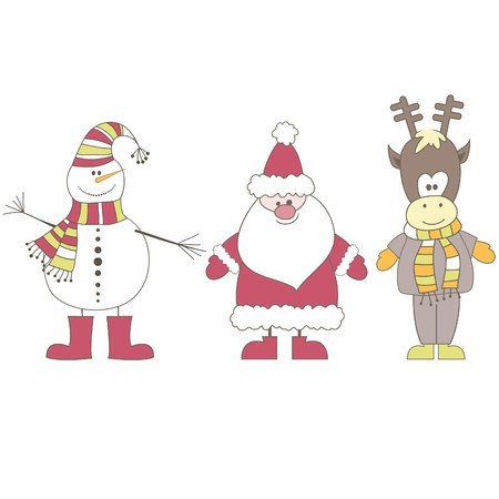 Santa, Reindeer, Snowman. Vector illustration Vector