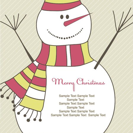 Christmas card with Snowman. Vector illustration illustration