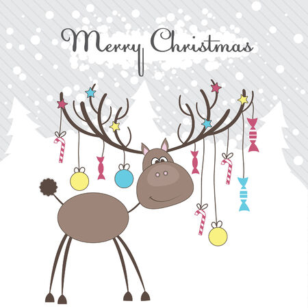 Christmas reindeer with fun gifts. Vector illustration Vector