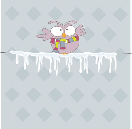Colorful owl  on the rope with ice. Vector illustration Illustration
