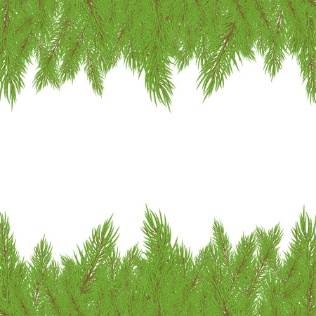 bushy: Christmas green Fur-tree with  decoration. Vector illustration