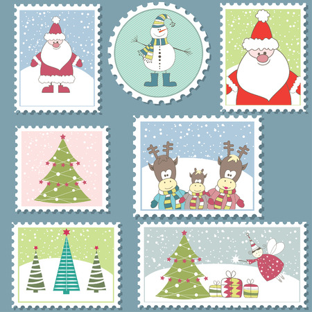 Large Set of colorful Christmas Postage stamps.Vector illustration Vector