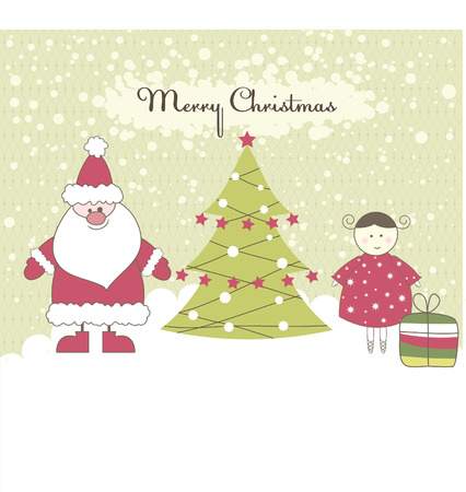 fairly: Christmas card with Santa, girl and gift boxes. Vector illustration