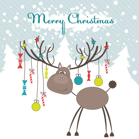 snowing: Christmas reindeer with fun gifts. Vector illustration Illustration