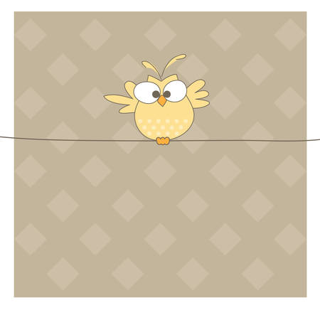 One Owl on the rope. Vector illustration