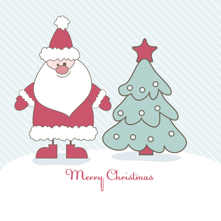 fairly: Christmas card with Santa and Christmas tree. Vector illustration