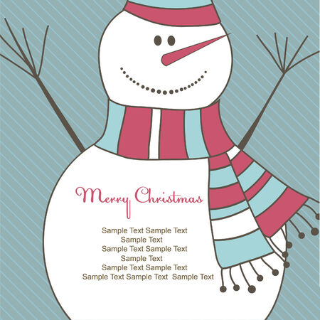 fairly: Christmas card with smiling snow man. Vector illustration