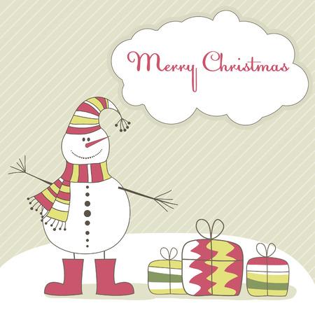 Weihnachtskarte mit lächelnd mann Schnee. Vektor-illustration Standard-Bild - 8192118