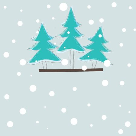 christmas card with color tree .   illustration Vector