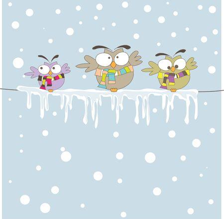 Three owl on the rope. Vector illustration  Illustration