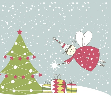 fairly: Christmas card with angel. Vector illustration