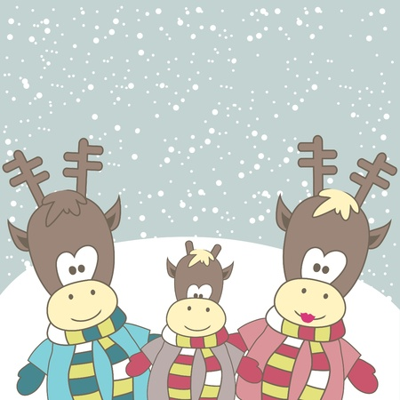Christmas card with Reindeer. Vector illustration Vector