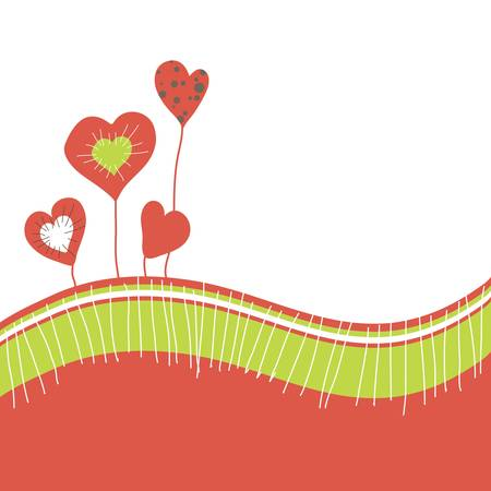 Cartoon congratulatory card with abstract heart.illustration Vector
