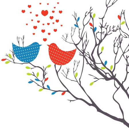 Background with birds. Vector illustration Illustration