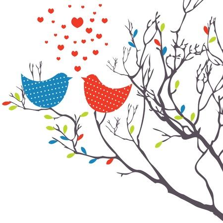 Hintergrund mit Vögeln. Vektor-illustration Standard-Bild - 8701263